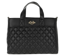 Quilted Shopping Bag Black/Gold Tote