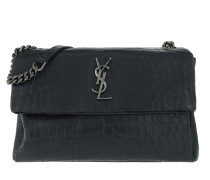 Monogramme Shoulder Bag Croco Leather Graphite Satchel Bag