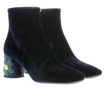 Boots Decor Ankle Boots Velvet Blue blau