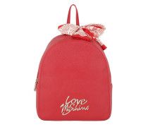 Smooth Saffiano Pu Logo Backpack Rosso Rucksack
