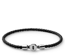Armband Nexus Leather Bracelet Sterling Silver Polished M Black