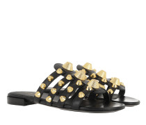 Leather Slides Classic Studs Black/Gold Sandalen