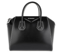 Antigona Small Tote White Stitching Black/White