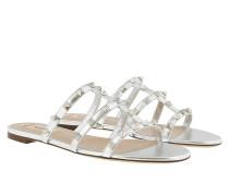 Rockstud Slide Sandals Silver Sandalen