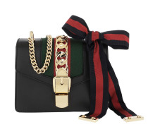 Umhängetasche Sylvie Mini Chain Bag Leather Black schwarz