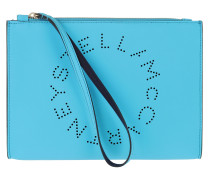 Logo Flap Zip Clutch Topaz Blue Pochette
