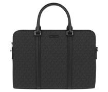 Jet Set Mens Slim Double Zip Briefcase Black Aktentasche