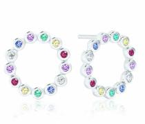 Ohrringe Sardinien Circolo Piccolo Earrings Multicoloured Zirconia 925 Sterling Silver