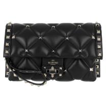 Rockstud Studded Crossbody Bag Calf Leather Black Clutch