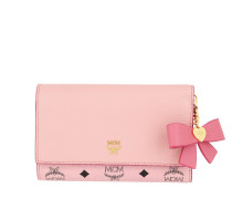 Mina Bow Charm Flap Wallet Medium Pink Blush