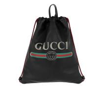 Gucci Print Leather Drawstring Backpack Black Rucksack