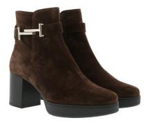 Platform Heel Boots Leather Marrone Africa Schuhe