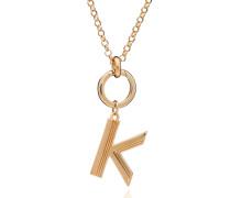 Halskette Oversized Alphabet K Pendant Necklace Yellow Gold