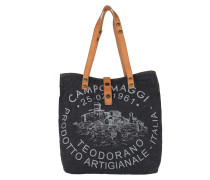 Shopp. Handled Jeans/Cow Blu+Naturale+St.Grigia Tote cognac