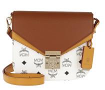 Umhängetasche Patricia Visetos Leather Block Shoulder Small White & Cognac braun
