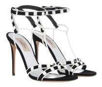T-Strap Bicolor Sandals Leather Black/White Sandalen