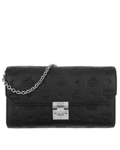 Verkaufen Kaufen Wiki Verkauf Online MCM Damen Millie Leather Wallet Medium Flap Crossbody Bag Black Tasche QMMxXuSqUv
