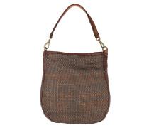 Leather Hobo Bag Acciaio/Cognac Tote