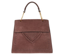 Lace Suede Crossbody Tote Marron Glace Satchel Bag