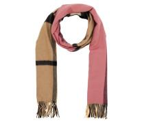 Accessoire Colour Block Check Cashmere Scarf Rose Pink rosa
