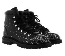 Boots With Studs Leather Black Schuhe