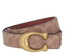 Gürtel Sculpted C Canvas Reversible Signature Belt Tan Rust