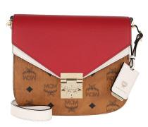 Patricia Visetos Leather Block Shoulder Small Cognac/White/Red Tasche