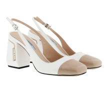 Pumps Slingback Pumps Patent Leather Bianco/Travertino weiß