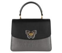 Satchel Bag Butterfly Turnlock Metallic Top Handle Black Multi