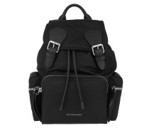 The Medium Backpack Nylon Leather Black Rucksack