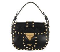Studded Flap Shoulder Bag Small Black