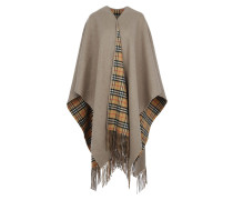 Long Reversible Scarf Check Sandstone Schal