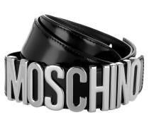 Belt Logo Patent Leather Black/Silver Gürtel