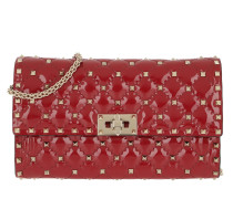 Umhängetasche Rockstud Spike Crossbody Bag Patent Small Rosso rot