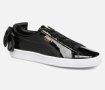 Basket Bow Patent Sneaker in schwarz