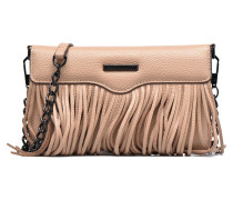 Fringe Leather crossbody phone holder Handtasche in beige