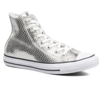 Chuck Taylor All Star Hi Metallic Snake Leather Sneaker in silber
