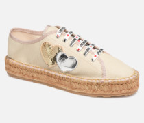 Rope Multi Hearts Lace Up Espadrilles in beige