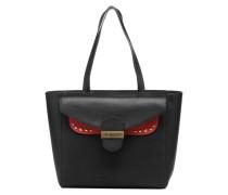 Cabas Double Flap Handtasche in schwarz
