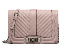 Chevron Quilted Small Love Crossbody Handtasche in rosa