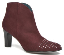 IFLOU #Ch Velours PRUNE ~Doubl & 1ere CUIR Stiefeletten Boots in weinrot