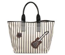 K Klassic Sparkle Shopper Rayures Handtasche in weiß