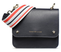 TOMMY LEATHER MINI CROSSOVER Handtasche in blau
