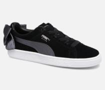 Basket Bow Satin Sneaker in schwarz