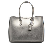 City Tote Embossed Leather Handtasche in silber