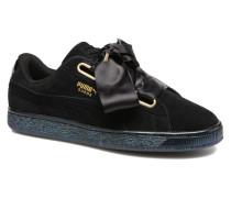 Suede Heart Satin Wn's Sneaker in schwarz