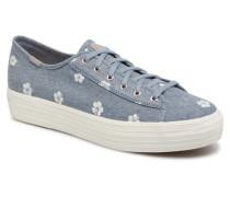 Triple Hibiscus Sneaker in blau