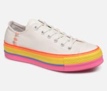 Chuck Taylor All Star Lift Rainbow Ox Sneaker in weiß