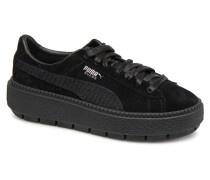 Platform Trace Animal Sneaker in schwarz