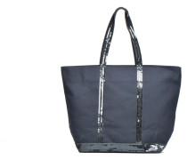Cabas coton zippé paillettes M+ Handtasche in blau
